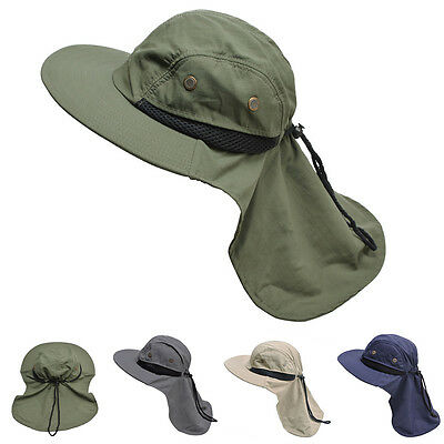 6c07fa1d Mens Womens Wide Brim Outdoor Sun Neck Protection Fishing Flap Hat T202