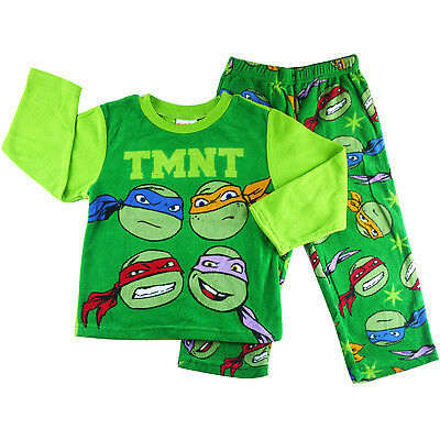 new boys kids TMNT Ninja Turtle micro fleece pjs sleepwear bath size 4 6 8