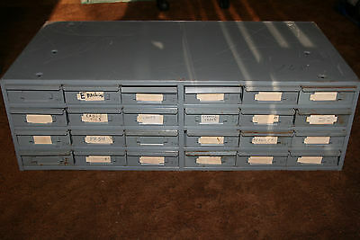 Industrial Metal 24 Drawer Small Parts Cabinet Bin Hardware Storage Organizer