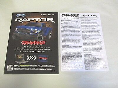 NEW 58094-1 Traxxas Slash 1/10 Ford Raptor Owners Guide Manual Parts List