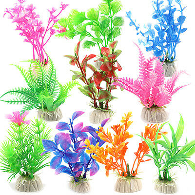 10 Mixed Artificial Aquarium Fish Tank Green Plastic Plant Decoration Ornament