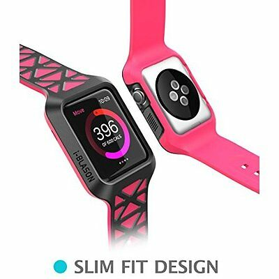 Apple Watch Case Strap Cover Premium Protective Shockproof Bumper Pink for 42mm