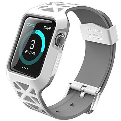 Apple Watch 42mm Case Strap Cover Premium Protective Shockproof Bumper White New