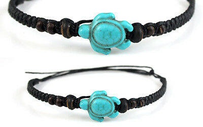 Turquoise Turtle Beaded Anklet Brown Wood Bead Mens Womens Surf Beach