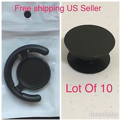 Lot Of 10 Black Popo Up Grip Expanding For iPhone Popsocket  With Free/Clip