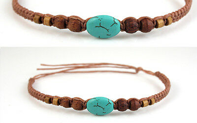 Anklet Turquoise Brown Ankle Bracelet Gypsy Boho Mens Womens New Hippie