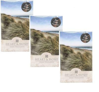 Pack of 3 Heart and Home Sea Grass Large Fragrance Scented Sachet with Hanger