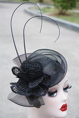Womens Sinamay Fascinator Cocktail Hat Wedding Church Kentucky Derby T225