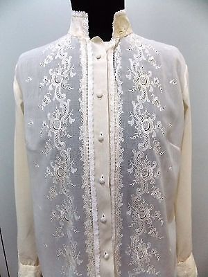 Vintage 1950s Cream Embroidered Long Sleeved Blouse- Minor Flaws- 50cm Bust