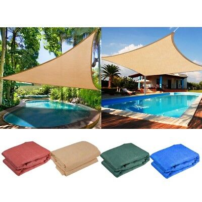 Mulit-Size Shade Sail Sun Awning Canopy Outdoor Garden Triangle Square Rectangle