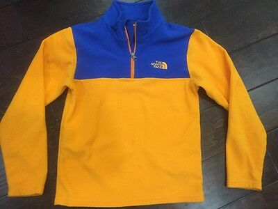 The North Face Orange And Blue 1/4 Zip Fleece Pullover Boys Medium (10/12)