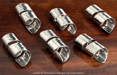 Silver Plate SET of 6 NAPKIN RINGS Modern Twist Hammered Effect Spiral Crafted