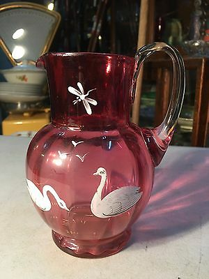 Antique Victorian Cranberry Coloured Hand Decorated Swan Dragonfly Jug Vase