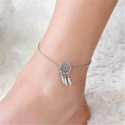 Indian Dream Catcher Feather Ankle Chain Anklet Bracelet Foot Beach Jewelry ♫