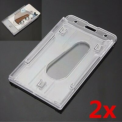 2Pcs Hard Plastic Transparent Vertical ID Card Holder Clear Badge Cover Case NEW