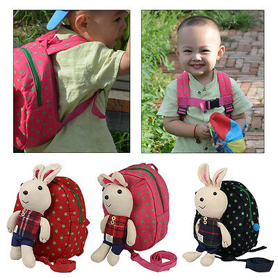 Toddler Kids Rabbit Doll Backpack Boy Girls Shoulder Bag + Anti-lost Harness