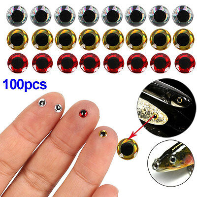 100pcs 6mm 3D Holographic Fishing Lure Baits Fish Eyes Fly Tying Jigs Crafts New