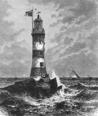 DEVON. Smeaton's Eddystone Lighthouse c1885 old antique vintage print picture