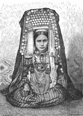 ASIA. Turkoman Female Head-dress c1885 old antique vintage print picture