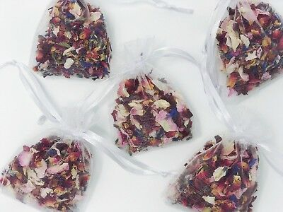 50 Real Petal Wedding Confetti Bags Biodegradable Dried Red Rose Organza Bags