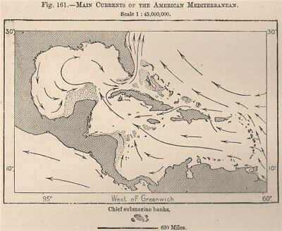 Main currents of the American Mediterranean.Caribbean/Gulf of Mexico 1885 map