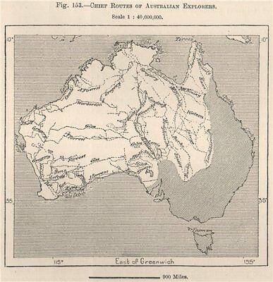 Chief routes of Australian Explorers 1885 old antique vintage map plan chart