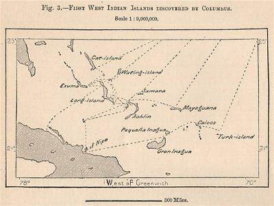 First West Indian Islands Discovered by Columbus. Bahamas 1885 old antique map