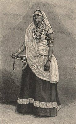 Wife of a rich Hindu Coolie. Trinidad and Tobago 1885 old antique print