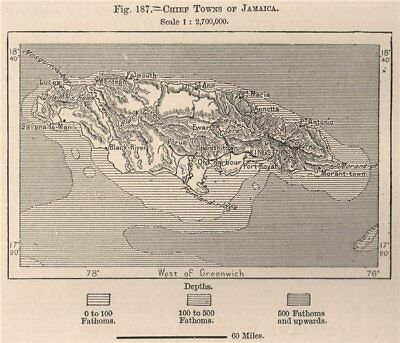 Chief Towns of Jamaica 1885 old antique vintage map plan chart