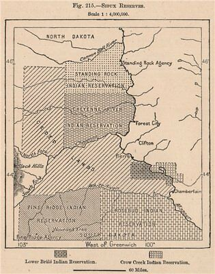 Sioux Reserves. South Dakota. United States 1885 old antique map plan chart