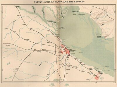 Buenos Aires La Plata and the estuary. Argentina 1885 old antique map chart