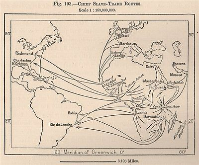 Chief Slave-trade routes. World. Hispaniola 1885 old antique map plan chart
