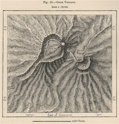 Mount Gede Volcano, Java, Indonesia. East Indies 1885 old antique map chart