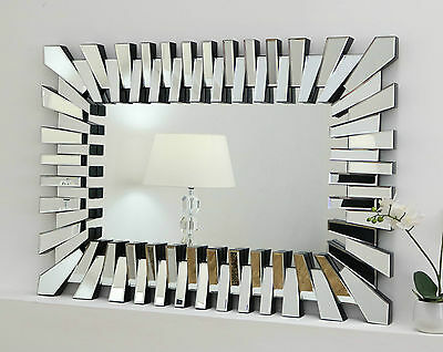 "Zip Silver Modern Rectangle Facet Wall Mirror 40"" x 28"" V Large"