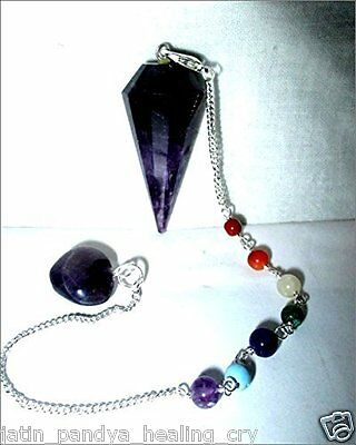 Jet Exquisite Amethyst Cone Shaped Pendulum Top Quality A++ Gemstone Healing