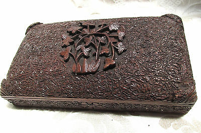 Carved Wood Rectangle Hinged Box Raised Floral Centre on Lid Intricate 20CmW