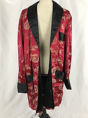Vintage Solz Squirrel Men's Kimono Robe Red Chinese Dragon Bath Smoking Size 50
