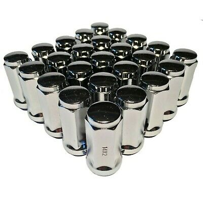 """25 Chrome 14x2 Lug Nuts 1.9"""" Long Bulge Acorn with 3/4"""" Hex Ford Expedition F150"""