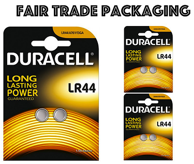 6 x Duracell LR44 Alkaline Button Cell Batteries Hexbug 1.5V LR 44 A76 AG13 357