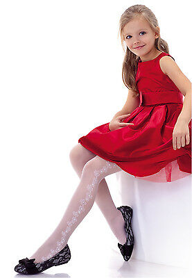 White Girl 20 den Tights First Holy Communion Bridesmaid Girl Party Pantyhose T1