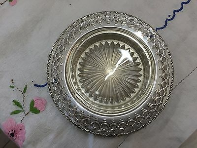 Vintage Perfection Silver Plated Bottle Holder Coaster Glass Plate Dish Bowl