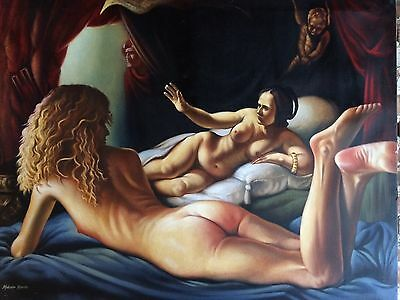 Stunning Nude Oil On Canvas Very Large Realism Painting Signed Malcolm Morris