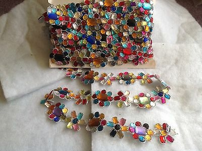 1mtr Beaded Multi Coloured Gem Lace Trim Sewing Dress Costume Fabric Craft Cake