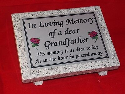 Personalised Grey Granite not Marble Memorial Grave Plaque Stone Grandad
