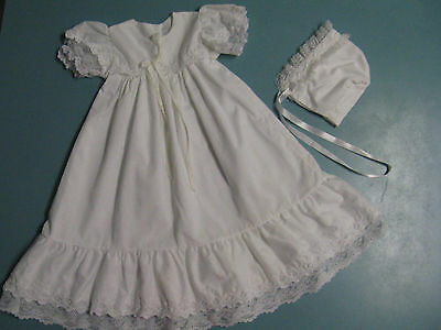 Vintage Christening Baptism Gown Dress With Bonnet 6-9 Months White Lace USA