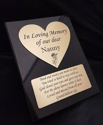 Personalised Black Heart Granite not Marble Memorial Grave Plaque Stone any name
