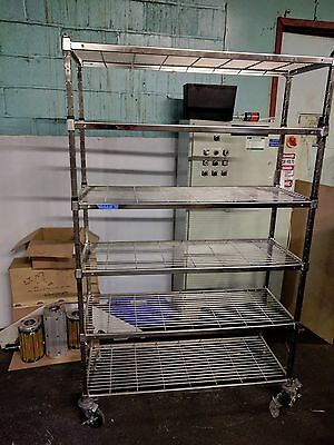 Amco 6 Tier Castored Wire Rack, stainless / chrome shelves on wheels