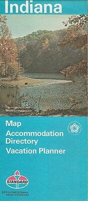 1976 AMOCO STANDARD OIL Hills of Home Road Map INDIANA South Bend Terre Haute