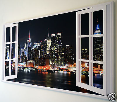 """New York Skyline Window Wall Art Canvas Picture Large 18"""" X 32"""""""