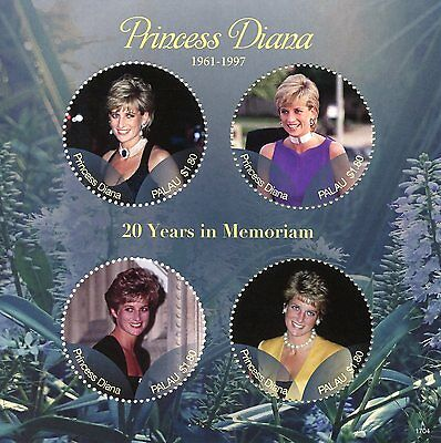 Palau 2017 MNH Princess Diana 20th Memorial Anniv 4v M/S I Royalty Stamps